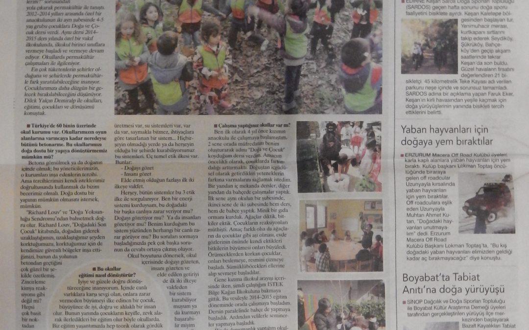 Doğa ve Çocuk Dersine Dair Birgün Gazetesinde Çıkan Röpörtaj